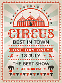 Retro poster invitation for circus or carnival show. Vector announcement to entertainment illustration