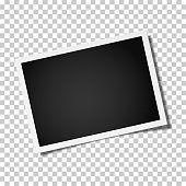Retro realistic vector photo frame placed horizontally slightly tilted on transparen background. Template photo design.