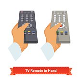 Retro remote control in hand. Flat style illustration. EPS 10 vector.