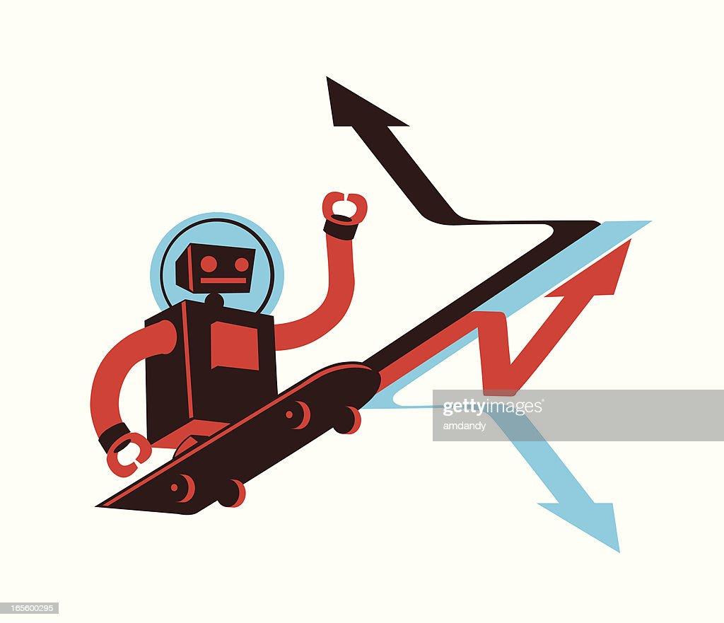 retro robot skater vector art getty images