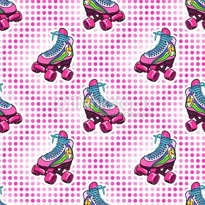 Retro Roller Derby Skates Seamless Pattern Vector