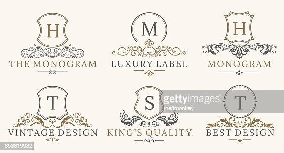 Retro Royal Vintage Shields Logotype set. Vector calligraphyc Luxury logo design elements. Business signs, logos, identity, spa, hotels, badges : Arte vettoriale