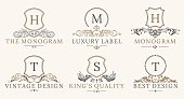 Retro Royal Vintage Shields Logotype set. Vector calligraphyc Luxury design elements. Business signs, identity, spa, hotels, badges elements