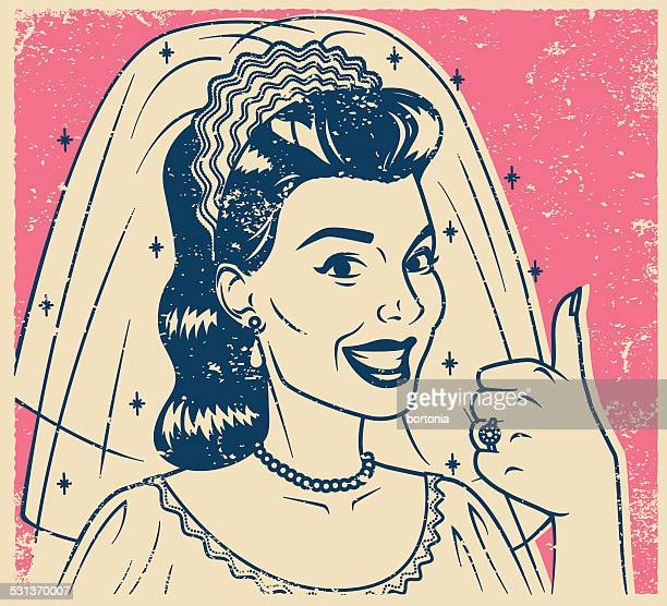 Retro Screen Print Bride Giving a Thumb's Up