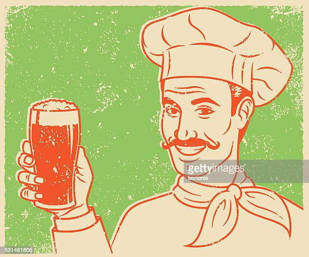 Retro Screen Print Chef with Beer