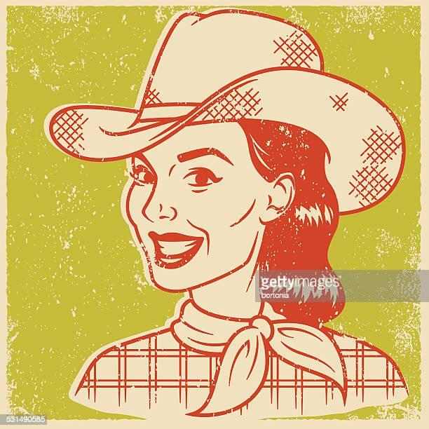 Retro Screen Print Cowgirl