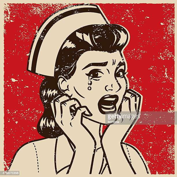 Retro Screen Print of a Crying Nurse