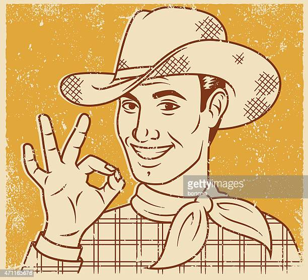 Retro Screen Print Smiling Handsome Cowboy Line Art Illustration