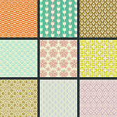 Retro different vector seamless patterns (tiling). Endless texture can be used for wallpaper, pattern fills, web page background,surface textures. Set of monochrome ornaments.