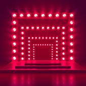 Retro show stage with light frame decoration. Game winner casino vector background. Illuminated of shine casino podium illustration