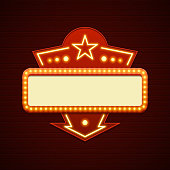 Retro Showtime Sign Design Cinema Signage Light Bulbs Billboard Frame and Neon Lamps on brick wall background. 1850s Signboard Style Vector Illustration.
