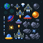 Retro space arcade game pixel elements. Invaders, spaceships, planets and ufo vector set. Video arcade game in pixel art, illustration of spaceship and invader rocket