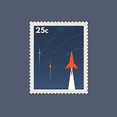 Retro postage space stamp. Vintage soviet style stamp with flying rockets. Flat style modern vector illustration with retro colors. For for envelopes, postcards or letter retro style paper.