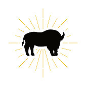 Retro standing bison silhouette icon. Nature sign and farm vintage icontype. Wild buffalo icon. Zoo or reserve symbol. Vector