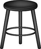 Retro stool in black design on white background