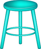 Retro stool in turquoise design on white background