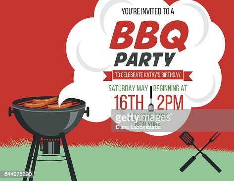 Retro Style Bbq Party Invitation Template Vector Art | Getty Images