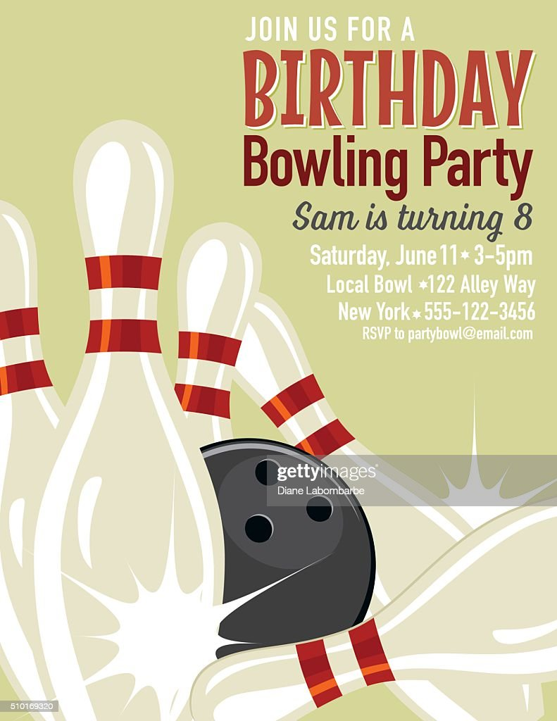 Retro Style Bowling Birthday Party Invitation Template Vector Art – Bowling Invitation Template