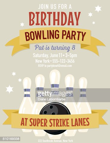 Retro style bowling birthday party invitation template vector art similar images pronofoot35fo Choice Image
