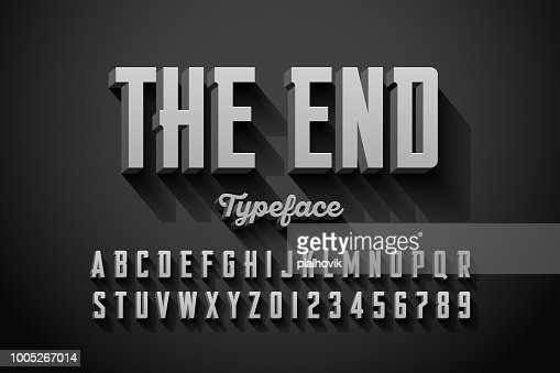 Retro style condensed font : Vector Art