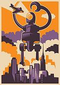 Retro style illustration of a giant robot attacking the city. Vector illustration.