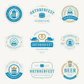 Retro style labels, badges and logos set Beer festival Oktoberfest celebrations text. Vector illustration.