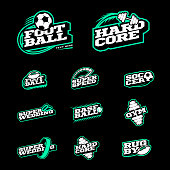 Retro style sport icon set. Soccer, Baseball, rugby, football, gym emblem and wedding text icontype. two color style on black background