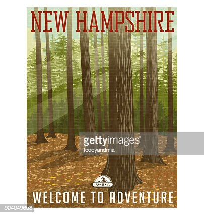Retro style travel poster or sticker. United States, New Hampshire forest. : stock vector