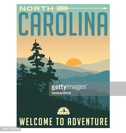 Retro style travel poster or sticker. United States, North Carolina, Great Smoky Mountains : stock vector