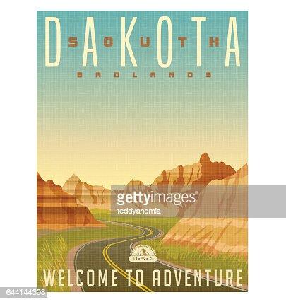Retro style travel poster or sticker. United States, South Dakota, Badlands National Park : stock vector