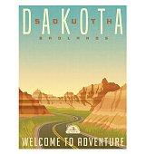 Retro style travel poster or sticker. United States, South Dakota, Badlands National Park