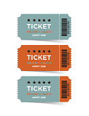 Retro style vector ticket set. Vertical composition.