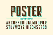 Retro style vintage font, letters and numbers vector illustration