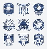 Set of retro styled sport team labels. Sport icons for tournaments, organizations, apparel and team identity