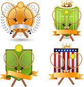 Retro Tennis Emblem with rackets and laurel wreath Set vector illustration.