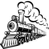 Retro train illustration isolated on white background. Design element for label, emblem, sign. Vector illustration