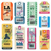 Retro travel luggage labels and baggage tickets with flight symbol vector collection. Luggage label tag registered illustration