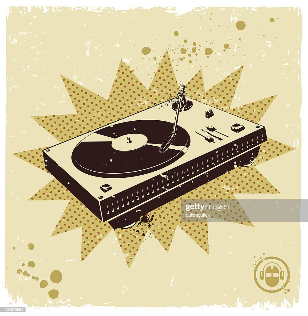 Retro turntable with tan background : Vector Art