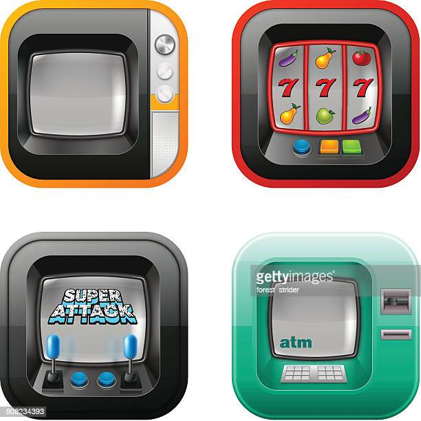 Retro tv, atm, and game machine icons
