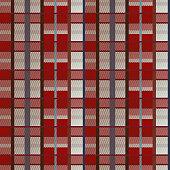 Retro vector red, blue, white and orange plaid pattern