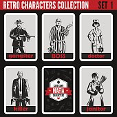 Retro vintage people collection. Mafia noir style. Gangster, Boss, Doctor, Killer, Janitor.