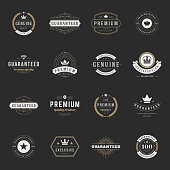 Retro Vintage Premium Quality Labels set. Vector design elements, signs, logos, identity, labels, badges, logotypes, stickers and stamps. Satisfaction, Guaranteed, Highest, Best choice and other text.