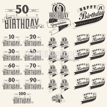 Retro vintage style birthday greeting card collection in retro vintage style birthday greeting card collection in calligraphic design vector art m4hsunfo