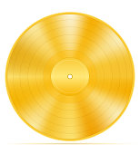 gold vinyl disk stock vector illustration isolated on white background