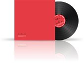 Retro vinyl disk with cover. Vector illustration.