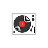 Retro vinyl music player vector icon, vinyl record player flat outline linear style, record turntable logo, thin line modern emblem design, illustration isolated on white background