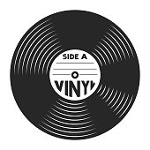 Retro vinyl record concept in vintage style isolated vector illustration
