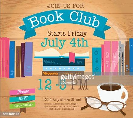 Retro Womens Book Club Event Invitation Design Template Vector Art