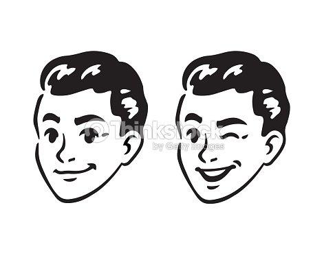 Retro young man portrait : stock vector