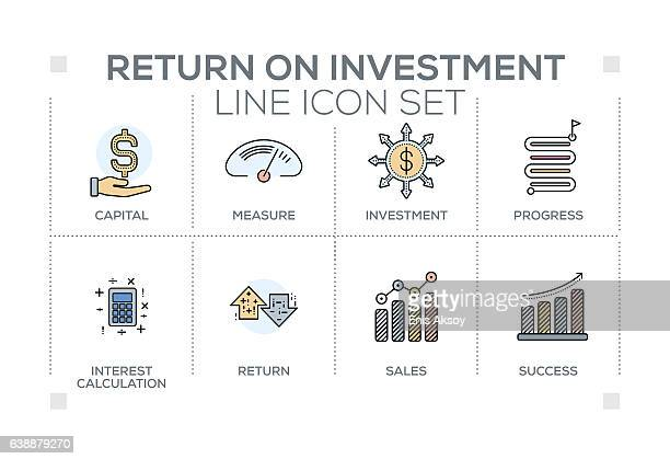 Return on Investment keywords with line icons